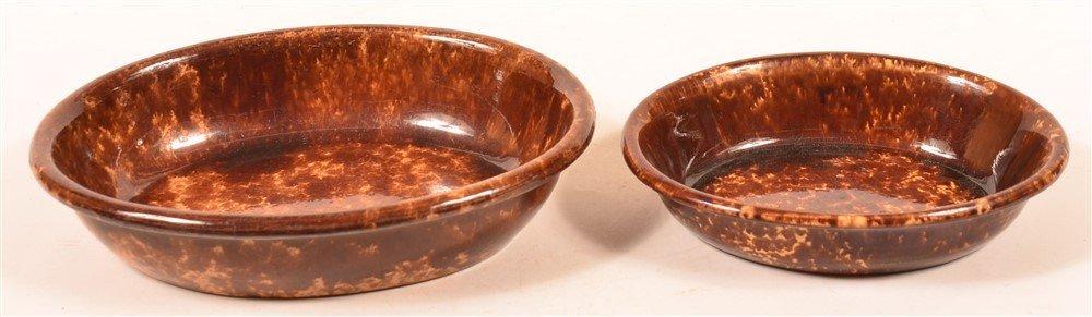 Two Rockingham Glazed Yellowware Oval Bowls.