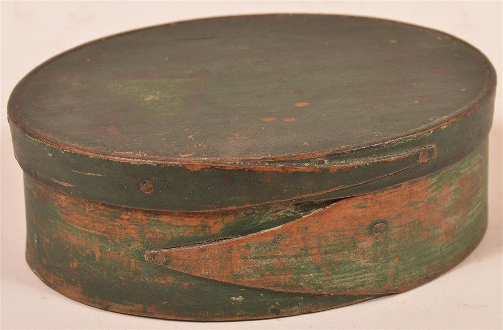 Green Paint Oval Bentwood Pantry Box.