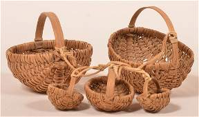 Group of Five Miniature Oak Splint Baskets.