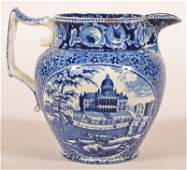 Historical Staffordshire Blue Transfer Pitcher.