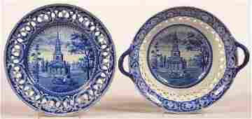 Historical Blue Transfer Bowl and Tray.