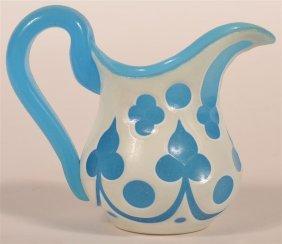 Opaque Cut To Blue Blown Glass Cream Pitcher.