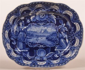 Historical Staffordshire Blue Transfer Platter.