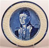 Historical Staffordshire Blue Toddy Plate.