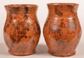 Pair Of Pennsylvania Redware Jars Or Vases.