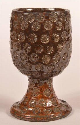 19th Century Glazed Redware Pottery Goblet.