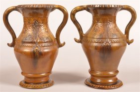Pair Of Stahl Redware Pottery Vases.