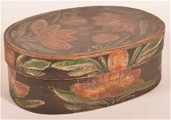 Polychrome Decorated Bentwood Ribbon Box