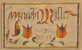 Fraktur Watercolor and Ink on Paper Bookplate.