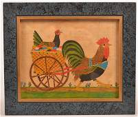 G. B. French Watercolor - Rooster Pulling a Cart.
