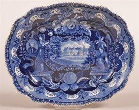 Historical Staffordshire Blue States Platter