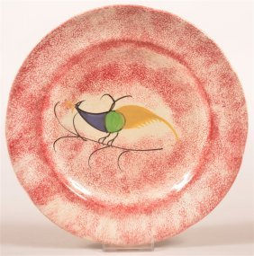 Red Spatter Peafowl Ironstone China Plate.