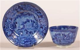 Historical Staffordshire Blue Cup and Saucer