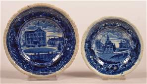 Two Historical Staffordshire Blue Cup Plates.