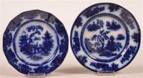 Two Flow Blue Transfer Ironstone China Plates.