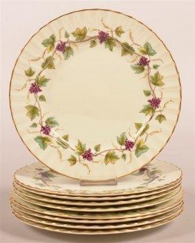 Nine Royal Worcester Bacchanal Pattern Plates.