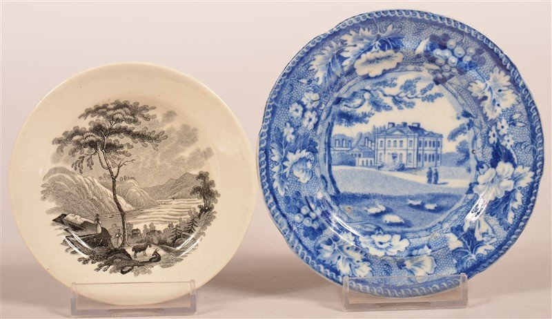 Two Historical Staffordshire Transfer Cup Plates.