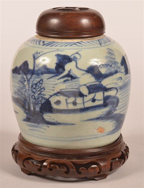 Canton Blue and White Oriental Ginger Jar.