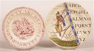 Two Transfer Decorated Alphabet Plates.