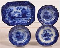 Four Pieces of Flow Blue Ironstone China.