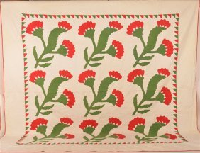 Red And Green Applique Patchwork Quilt.