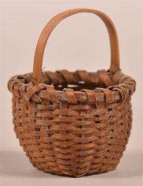 Antique Miniature Ash Splint Basket.