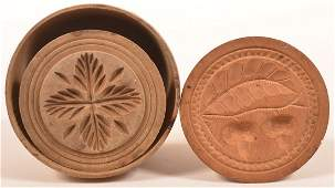 Two Antique Carved Butter Prints.