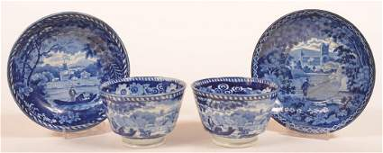 Two Staffordshire  Blue Transfer Cups  Saucers