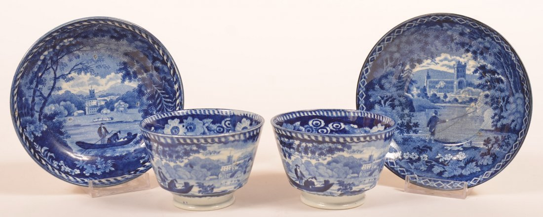 Two Staffordshire  Blue Transfer Cups & Saucers.
