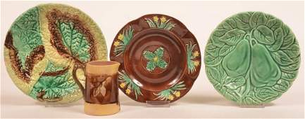 Four Various Pieces of Majolica Pottery.
