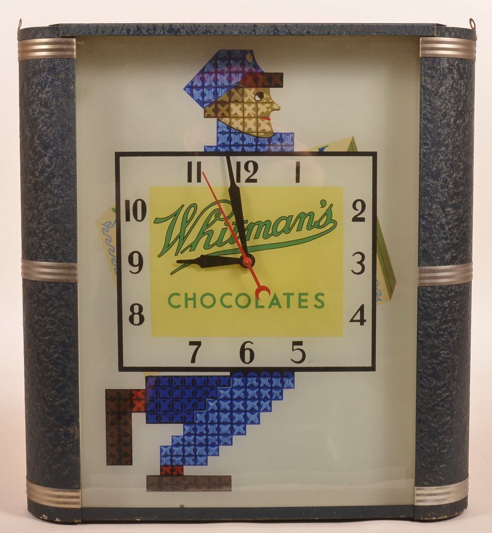 Whitman's Chocolate Art Deco Advertising Clock.