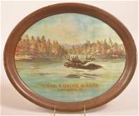 Oval Tin Lithograph Whiskey Advertising Tray.