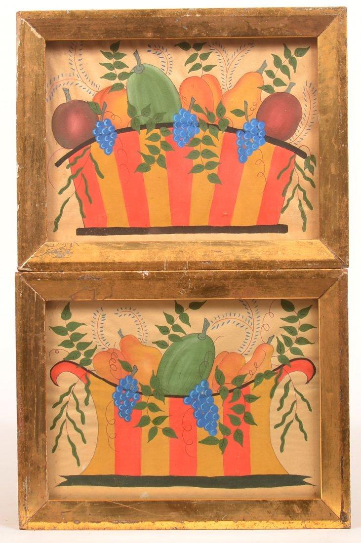 Pair of  New England Basket of Fruit Paintings.