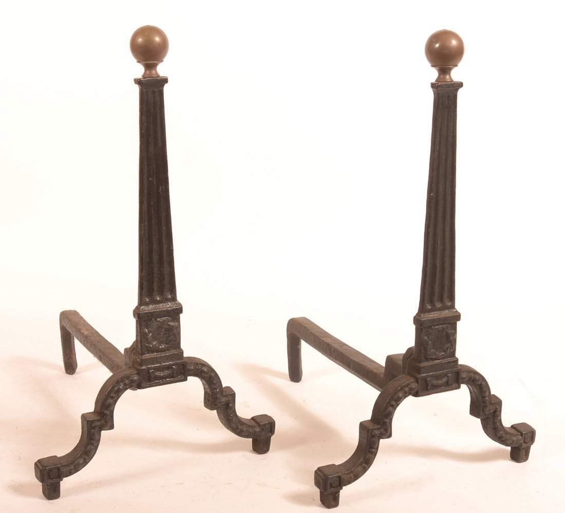 Pair of 19th Century Cast Iron Andirons.