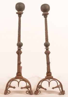Pair Of Ornate Andirons With Brass Ball Finials.