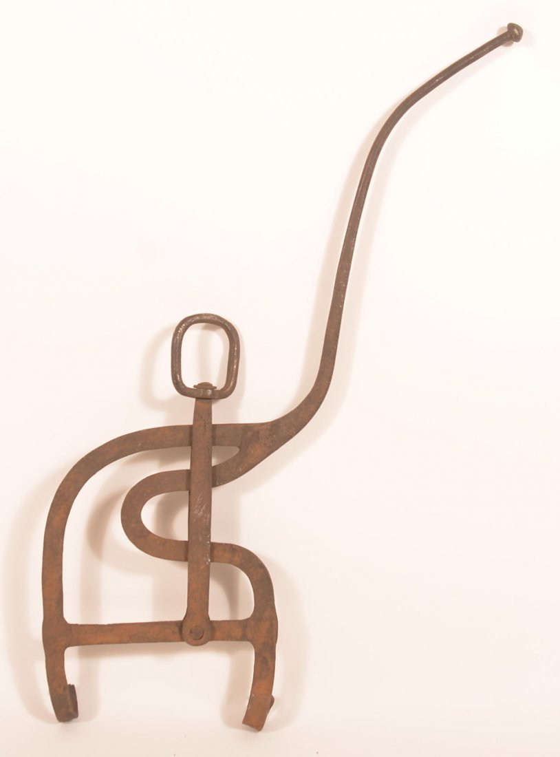 19th Century Wrought Iron Hearth Kettle Tilter. - 2