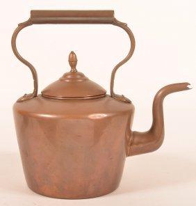 English 19th Century Copper Tea Kettle.