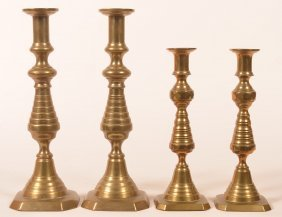 2 Pairs Of Brass 19th Cent. Bee Hive Candlesticks.