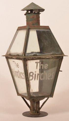 "Antique Tin Post Lantern Marked ""the Birches"""