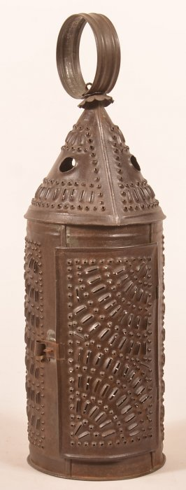 19th Century Punched Tin Candle Lantern.