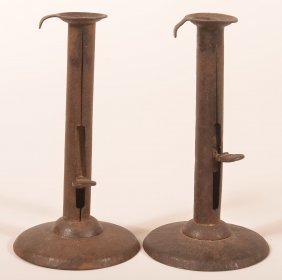 2 19th Cent. Sheet Iron Hog Scraper Candlesticks.