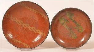 Two PA Slip Dec Redware Plates