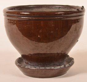 19th Century Mottle Glazed Redware Flower Pot.