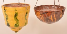 2breininger Pottery Redware Hanging Planters.