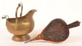 Brass Coal Bucket And Carved Wood Bellows.