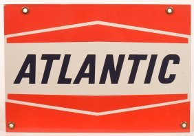 """atlantic"" Porcelain Enameled Advertising Sign."