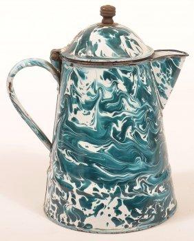 Granite Ware Chrysolite Large Swirl Coffee Pot.