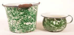 Two Pieces Of Green Large Swirl Granite Ware.