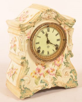 Ansonia Floral Painted Porcelain Mantle Clock With 8-