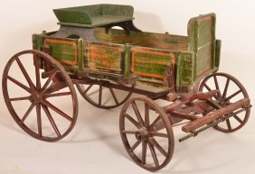 "Wooden Pony Wagon Stenciled ""ozark Farm Wagon"""
